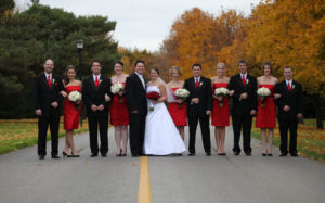 red and white wedding party